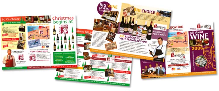 6pp DL Brochures promoting 2 French wine retailers